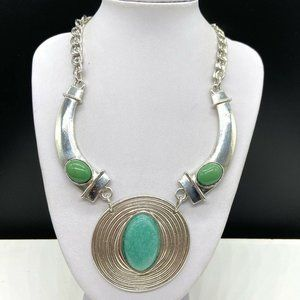 NY&Co Cabochon Pendant Statement Necklace Green